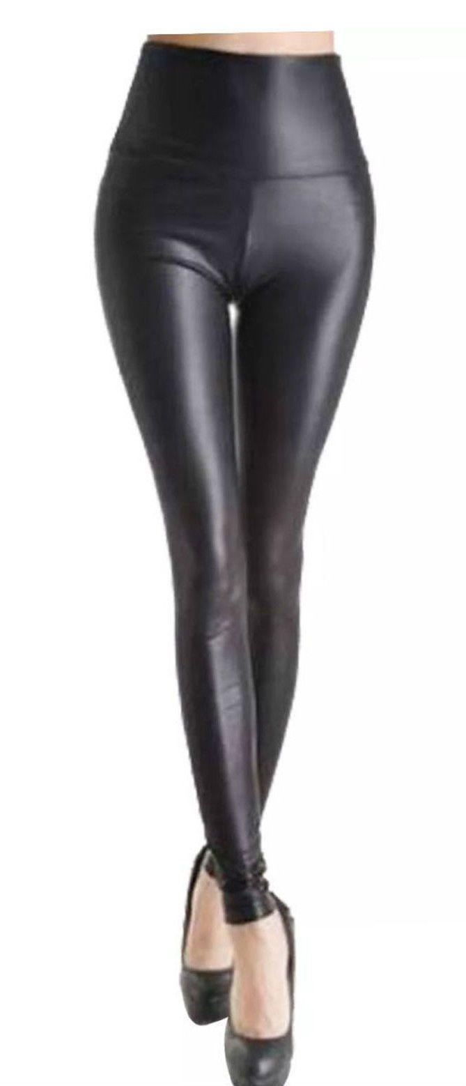 Women Ladies High Waisted PVC Leather Wet Look Leggings Pants Plus Size 8-24   eBay