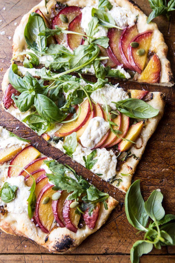 Arugula Peach Ricotta Pizza with Crispy Bacon | halfbakedharvest.com @hbharvest via @hbharvest
