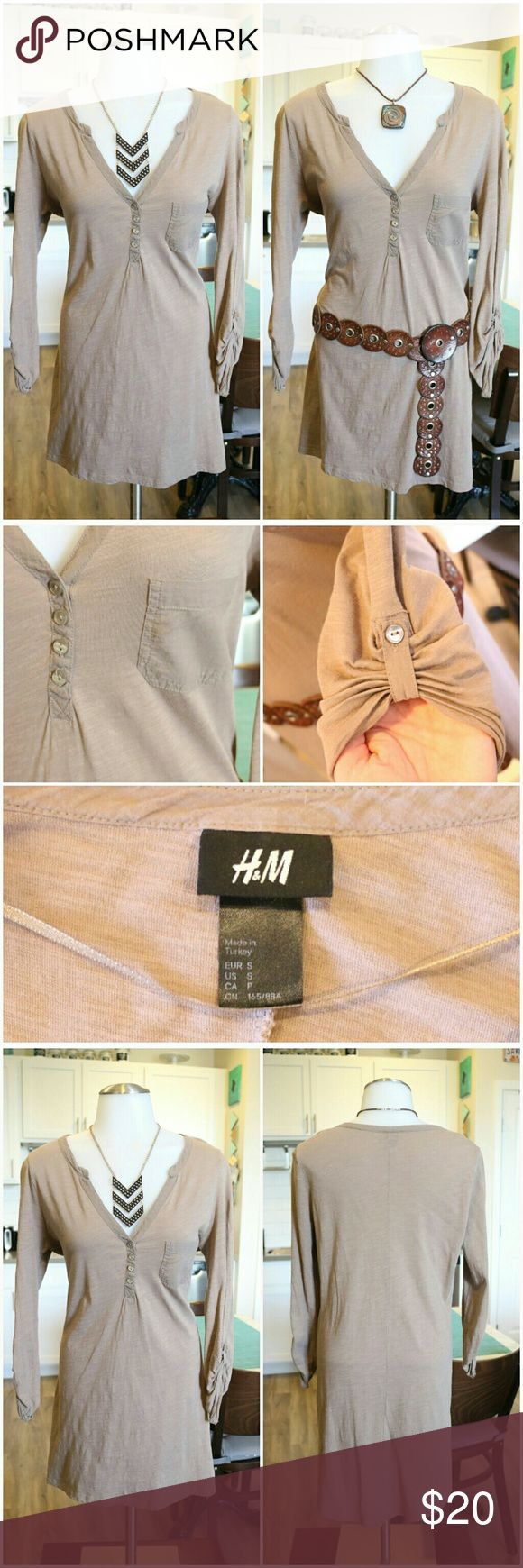 H&M Tshirt Dress Cute and comfy light brown tshirt dress. style it with leggings and a cute belt or just add a chunky necklace to complete your look. Material: 100% Cotton  Bundle and save 10% Free gift with purchase over $20 H&M Dresses Midi
