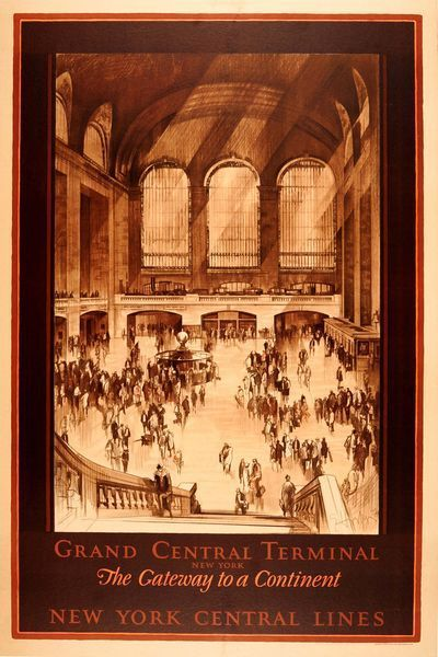 OnlineGalleries.com - 1920s Original Travel Poster New York Grand Central Terminal Station Central Lines by Horter