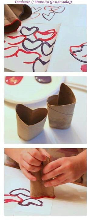 Good idea! Never thought about making toilet paper rolls into hearts. Great craft for kids! I did this with the 5 year old I nanny and she LOVED it!!!