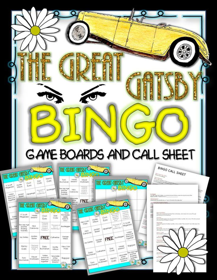 The Great Gatsby Bingo: Instructions, Game Boards, and Call Sheet ($)