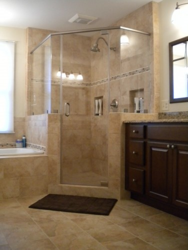 bathroom colors: Bathroom Design, Shower Design, Corner Showers, Bathroom Colors, Dark Cabinets, Tile Shower, Traditional Bathroom, Bathroom Ideas, Master Bathroom