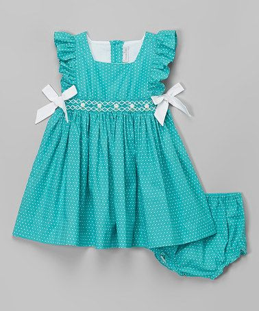 Look what I found on #zulily! Aqua Polka Dot Dress - Infant & Toddler by Fantaisie Kids #zulilyfinds