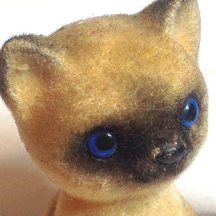Vtg Йозеф Orig сиамские котята Нечеткие стекались Blue Eyes Cat Cute очаровательны Япония - Йозеф
