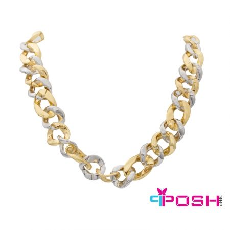 """Summer - Necklace  - Fashion necklace - Gold and silver toned intertwined hoops - Lobster claw closure with chain extension - Dimension: 10.63"""" length, 0.98 width  POSH by FERI - Passion for Fashion - Luxury fashion jewelry for the designer in you.  #networking #direct #sales #fashion #designer  #brand #onlineshopping #workingfromhome #necklace #accesories"""