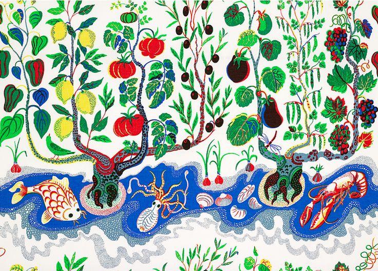 """Italian Dinner"" textile by Josef Frank on Linen"