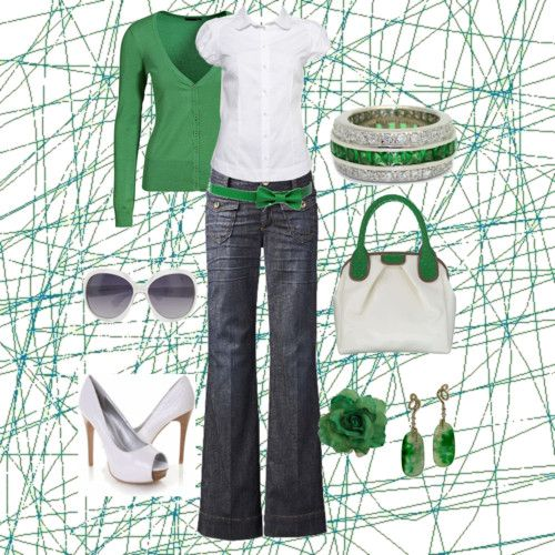 Green & white: White Shoes, Fashion, Casual Friday, Dreams Closet, Color, Day Outfit, Kelly Green, Flats, Belts