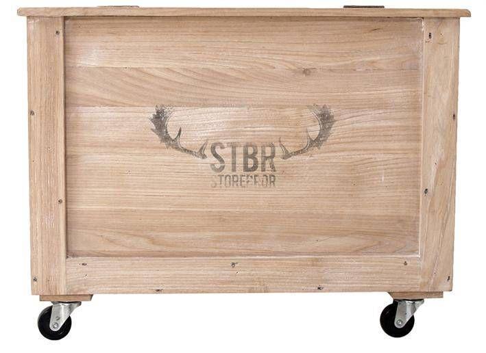 Storebror Opbergkist op wielen hout bruin 60x40x48.5cm Box Lock rustiek