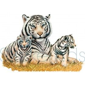 Grote muursticker met witte tijgerfamilie #muursticker #kinderkamer #dieren #kidzstijl #tijgerfamilie #tijger