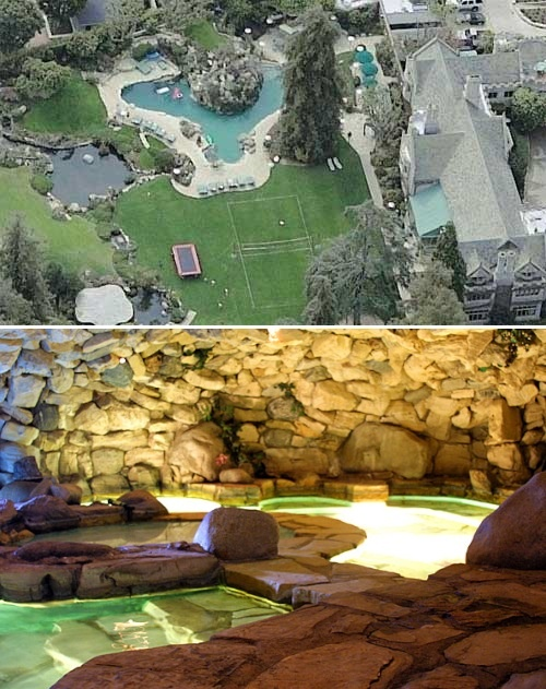 Playboy mansion swimming pool grotto pools pinterest for Swimming pool grotto design