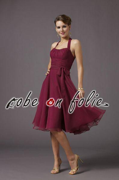 9f859ea8d57d66 Magnifique robe de cérémonie bordeaux en mousseline légère et jupe ...