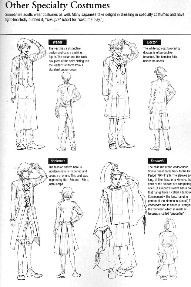 """More clothing drawing guides from Graphic-Sha's """"Drawing Yaoi"""" - Specialty Costumes (Cosplay) - 3/5"""