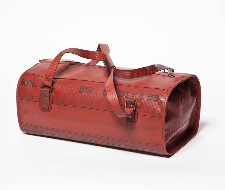 Elvis & Kresse upcycled carry-all bag. Made out of old parachutes and firehoses. €245