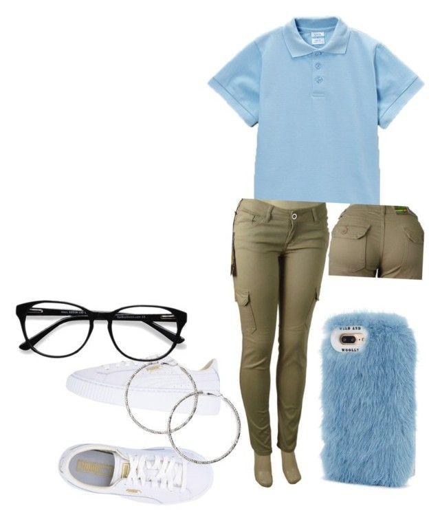 """School uniform"" by lonniieboo on Polyvore featuring Puma, EyeBuyDirect.com, Forever 21 and Wild & Woolly"