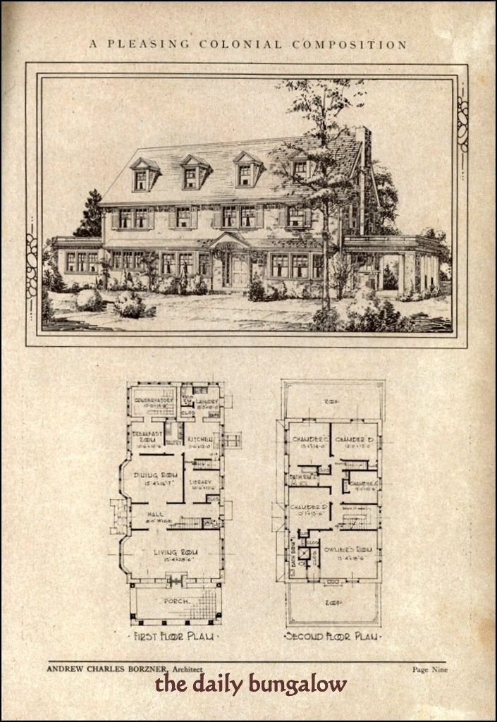 266 best images about vintage home plans on pinterest for Antique colonial house plans