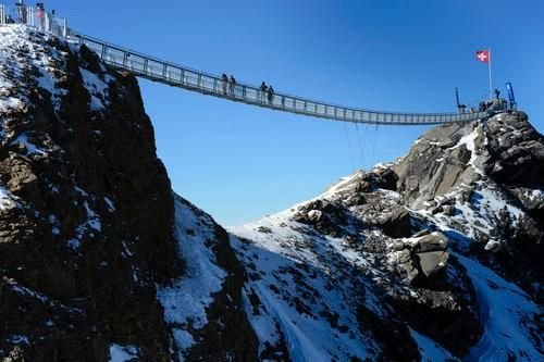 (Photo: AP) Don't look down! The world's first peak-to-peak suspension bridge is open for business (and panic attacks) in the Swiss Alps. Peak Walk at Glacier 3000 is 351 feet long and 9,800 feet above sea level. love to try it