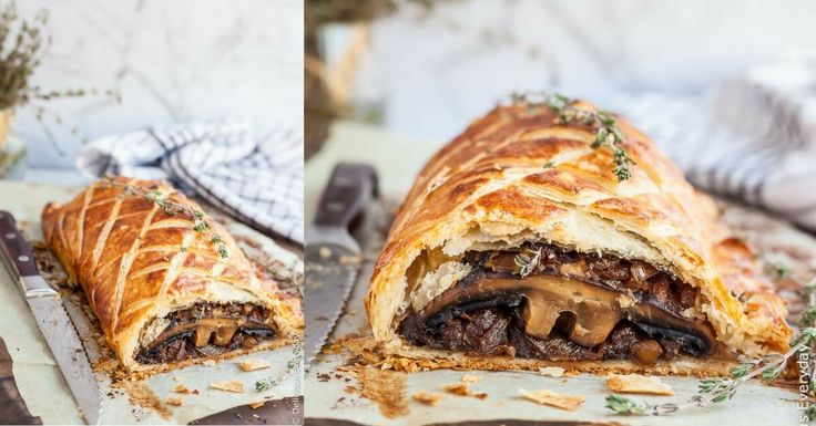 Flaky, Golden and Delicious this Vegan Mushroom Wellington is sure to take center stage at your Christmas feast.