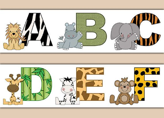 SAFARI ANIMAL ALPHABET Wallpaper Border Decal Nursery Wall