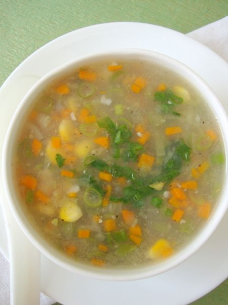 Sweet Corn Vegetable Soup is an easy Indian Chinese soup recipe prepared with cream style corn and mixed vegetables.