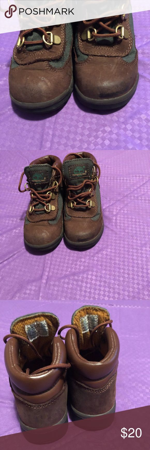 Toddler size 10 Timberland boots Selling little boys toddler size brown and green timberland boots. A couple of scuffs on the front tip of the shoe, but still in good condition. Smoke free/ pet free home Timberland Shoes Boots