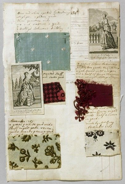 A British reverend's daughter named Barbara Johnson (1738-1825) kept a meticulous diary of the fabrics she used and details of the garments she made with them. The original diary is now a part of the Victoria & Albert Museum's collection. It was reproduced in the 1980s and published under the title A Lady of Fashion: Barbara Johnson's Album of Styles and Fabrics.