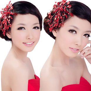 gratis verzending rode kristal bruids haar accessoire haar accessoire de bruid bruiloft haar clips