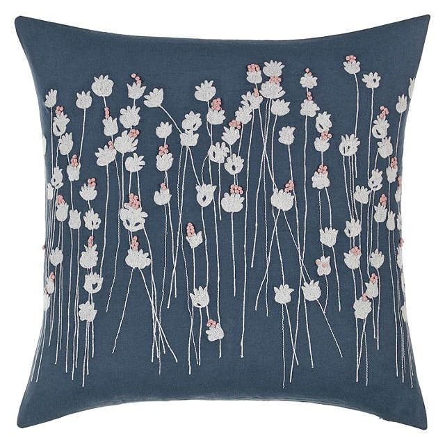 BuyJohn Lewis Croft Collection Poppies Cushion, Loch Blue Online at johnlewis.com