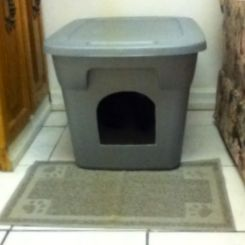 How to make your own DIY covered kitty litter box out of a plastic container. A super cheap and easy project and a great cat litter solution for people living in a small apartment. Photo from the article: Do It yourself Covered Kitty Litter Box: http://www.squidoo.com/do-it-yourself-covered-kitty-litter-box