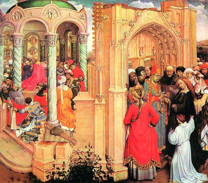 """2005.11 // Robert Campin """"Zaślubiny Najświętszej Maryi Panny"""", olej na desce, ok. 1428 Muzeum Prado, Madryt"""
