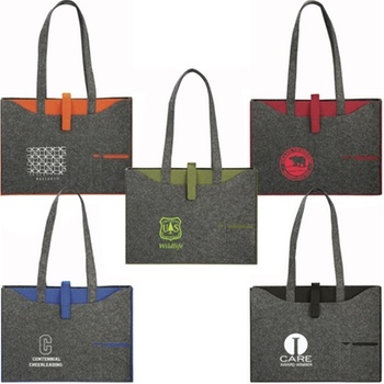 This #custom tote bag is made from recycled felt produced from discarded plastic bottles. #epromos