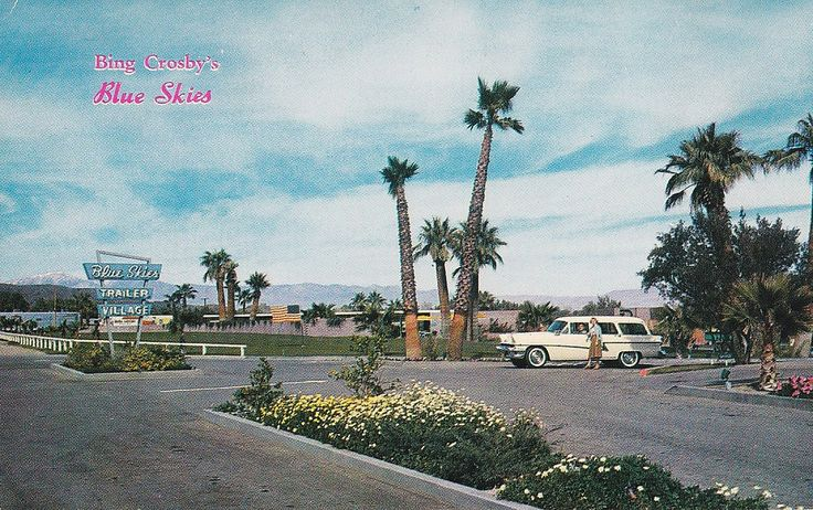 https://flic.kr/p/aSbzJv | Bing Crosby's Blue Skies Trailer Village Palm Springs CA | Back of postcard reads:  BING CROSBY'S BLUE SKIES Palm Springs, California  This fabulous trailer park in a most beautiful setting with all manner of conveniences is undoubtedly the answer to every trailerite's dream where country club living is enjoyed under a warm winter sun.  Color Photo by David M. Mills  Copyright Ferris H. Scott, Santa Ana, Calif.