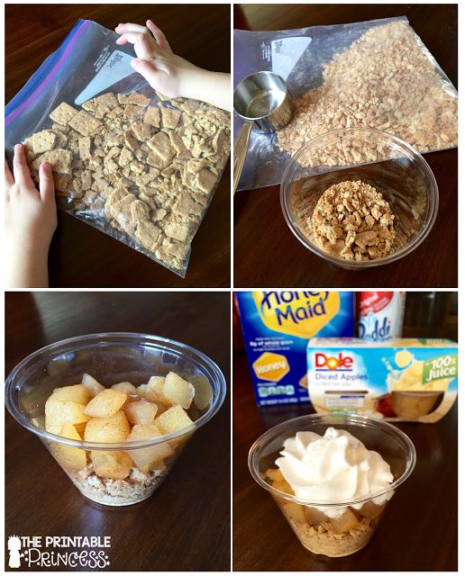 Apple pie in a cup. Easy classroom recipe and the kids love it too! Perfect for apple week.