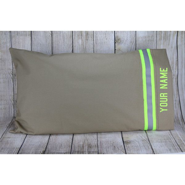 Personalized Firefighter Station Pillow Case ($20) ❤ liked on Polyvore featuring home, bed & bath, bedding, bed sheets, grey, home & living, sheets & pillowcases, gray pillow cases, personalized bedding and gray bedding