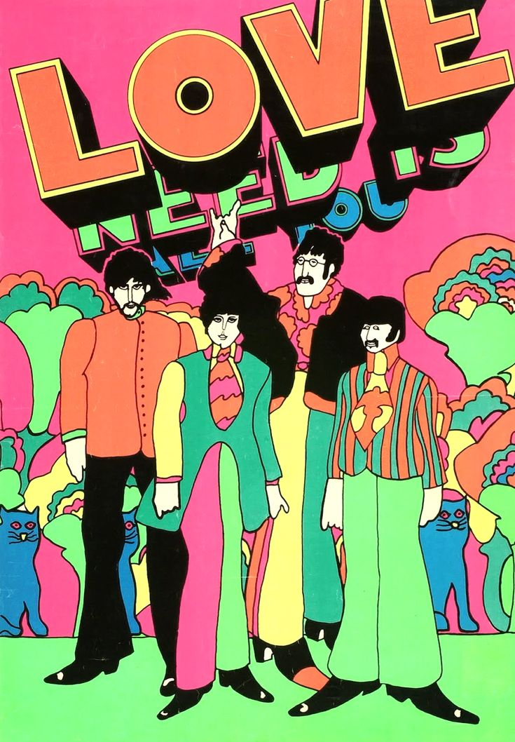 60s Art - The Beatles - Yellow Submarine by Peter Max - neon for black light - 1969