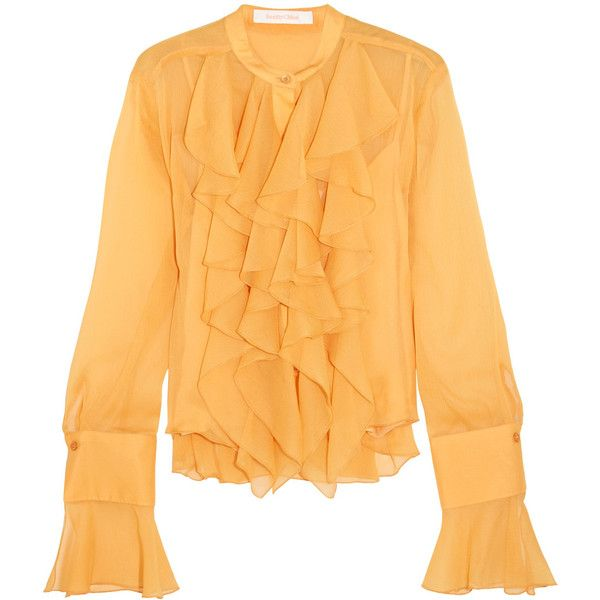 See by Chloé Ruffled crepon blouse ($315) ❤ liked on Polyvore featuring tops, blouses, marigold, ruffle cami top, yellow top, yellow cami, net tops and beach tops