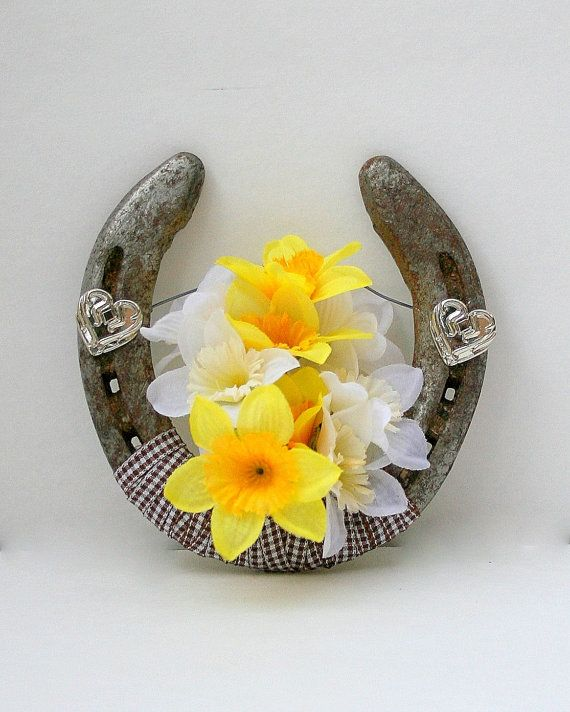 Horseshoe Decorated with daffodils Western Decor by DreamersGifts, $20.00
