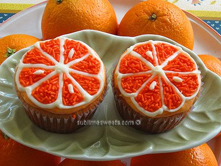 orange slice cuppies: Orange Slices, Slices Cupcakes, Orange Cupcakes, Orange Creamsicle, Cupcakescak Decor, Parties Ideas, Cups Cakes, Cupcakes Rosa-Choqu, Creamsicle Cupcakes