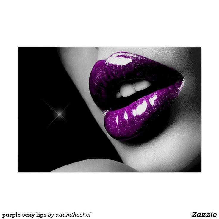 purple sexy lips poster