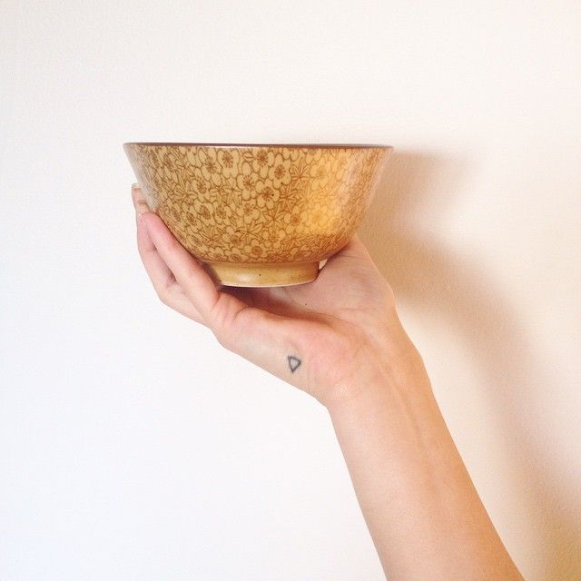 Great new find!  #pottery #bowl #tea #blogger #vancouverblog #vegan #triangle #tattoo