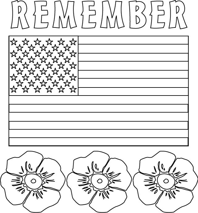 remember coloring pages for kids memorial day coloring pages