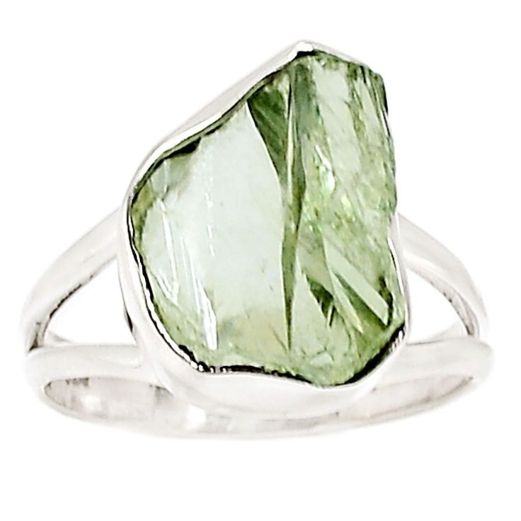 Natural Green Amethyst Rough 925 Sterling Silver Ring Jewelry s.8.5 SR198429 | eBay