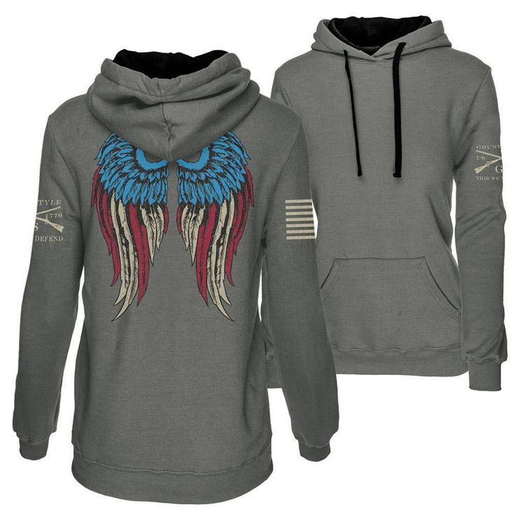 Who cares if they can't see your halo or horns, now they can see your wings.  This is not a unisex hoodie like our other hoodies. It is made specifically for the ladies. Check out the sizing chart below for a better idea of how it fits!  #americangirl #freedom #patriot #gruntstyle #angel