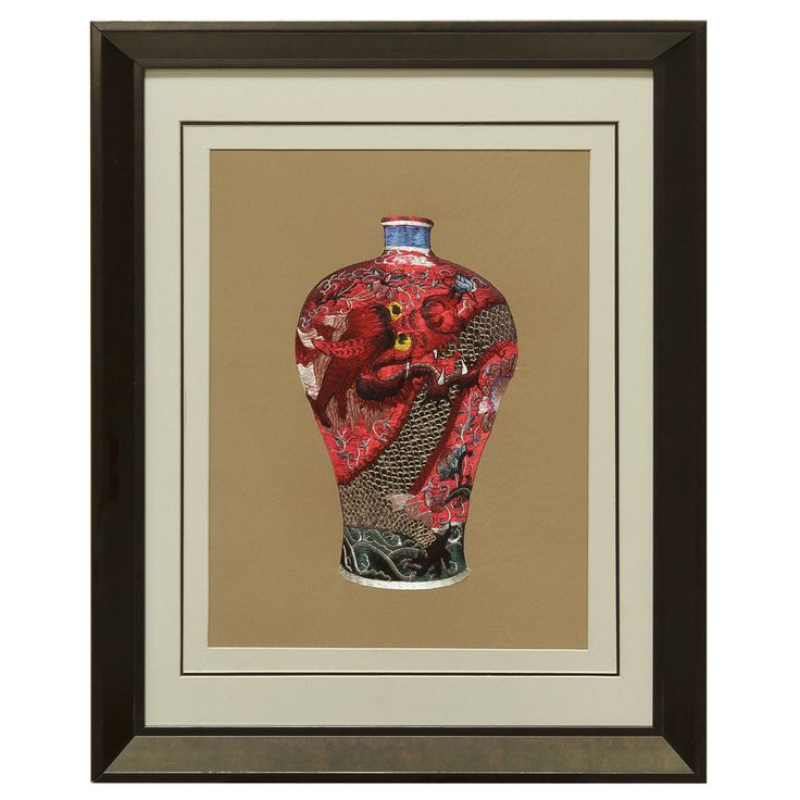 Silk Embroidery Frame with Prosperity Red Dragon Vase