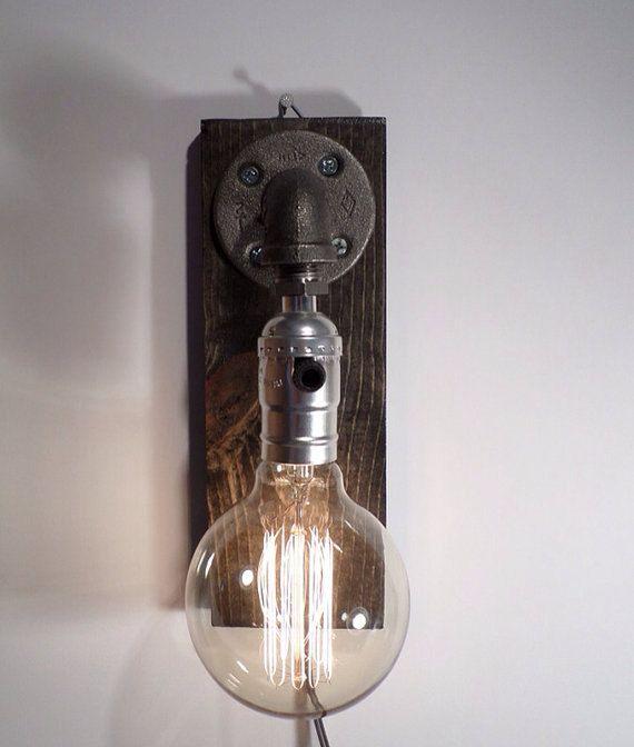 unique rustic lighting. Edison Lamp/Rustic Decor/Unique Table Lamp/Industrial Lighting/Steampunk Light/housewarming/gift For Men/bedside Pipe Lamp/desk Accessories Unique Rustic Lighting
