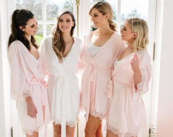 The Parisian Bridesmaid robe with french lace Brides by ChezBlanc