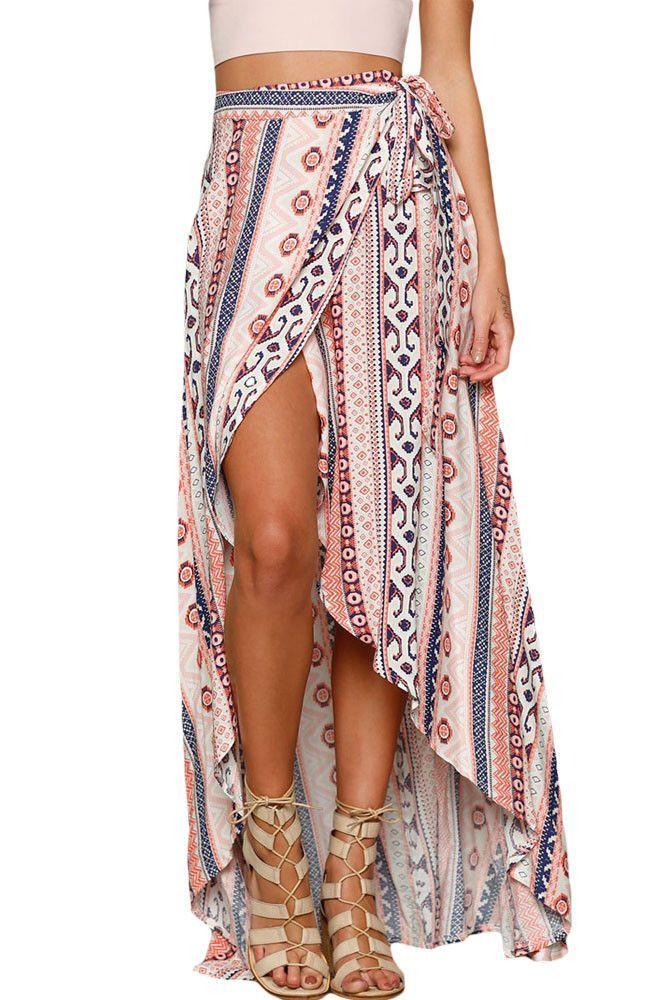 2016 New sexy Fashion Womens Long Skirt Ethnic Print Wrapped Beach Bohemian Skirt Summer 2016 High Low Skirt LC42061 Jupe Longue