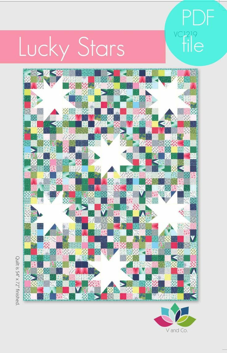V and Co — lucky stars quilt pattern PDF file