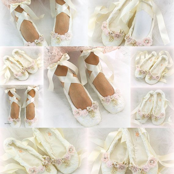 Ivory Lace Wedding Ballet Shoes Slippers Lace Up Bridal Ballet Flats ...