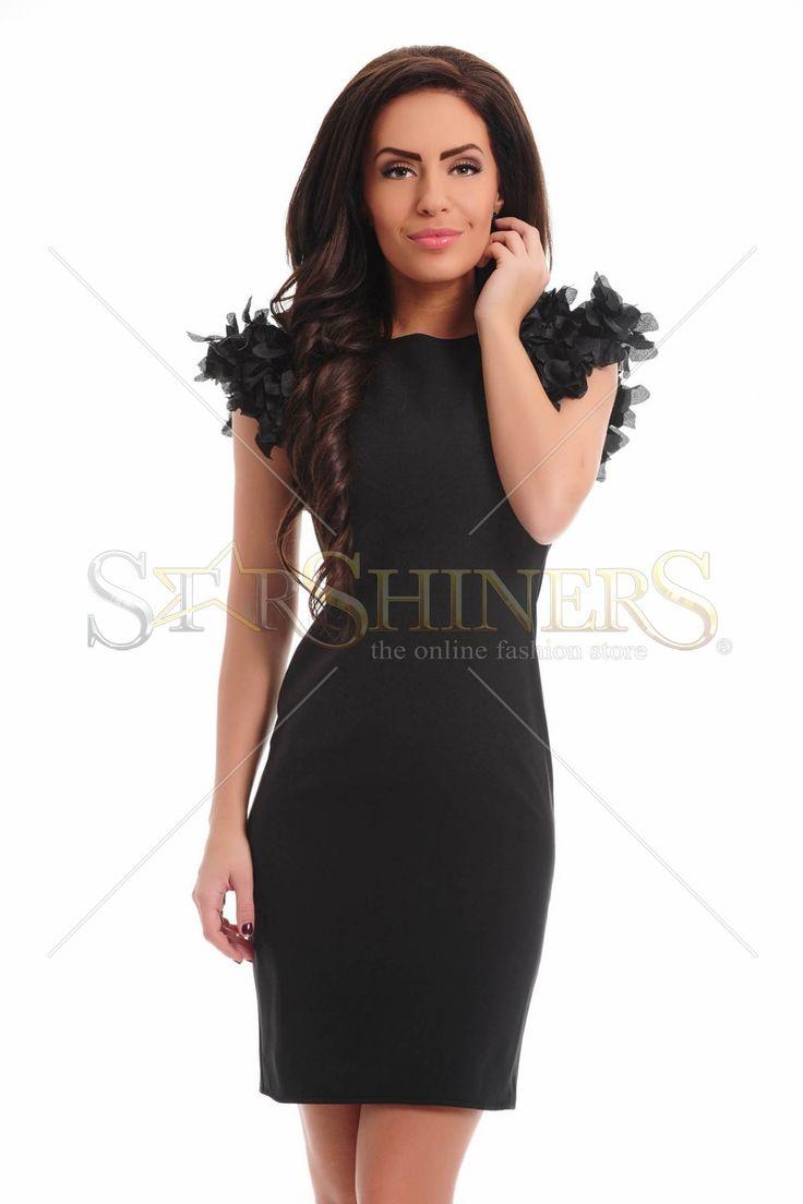 Ana Radu Impressive Shoulders Black Dress